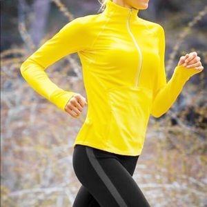 Athleta Plush Tech Yellow Half Zip Pullover